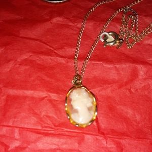 BEAUTIFUL CAMEO NECKLACE WITH GOLDTONES